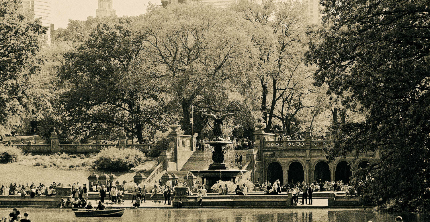 "Central Park View, 15"" x 30"" boats fountain people central park ny liz fiedorek fine art photography ny rhode island"