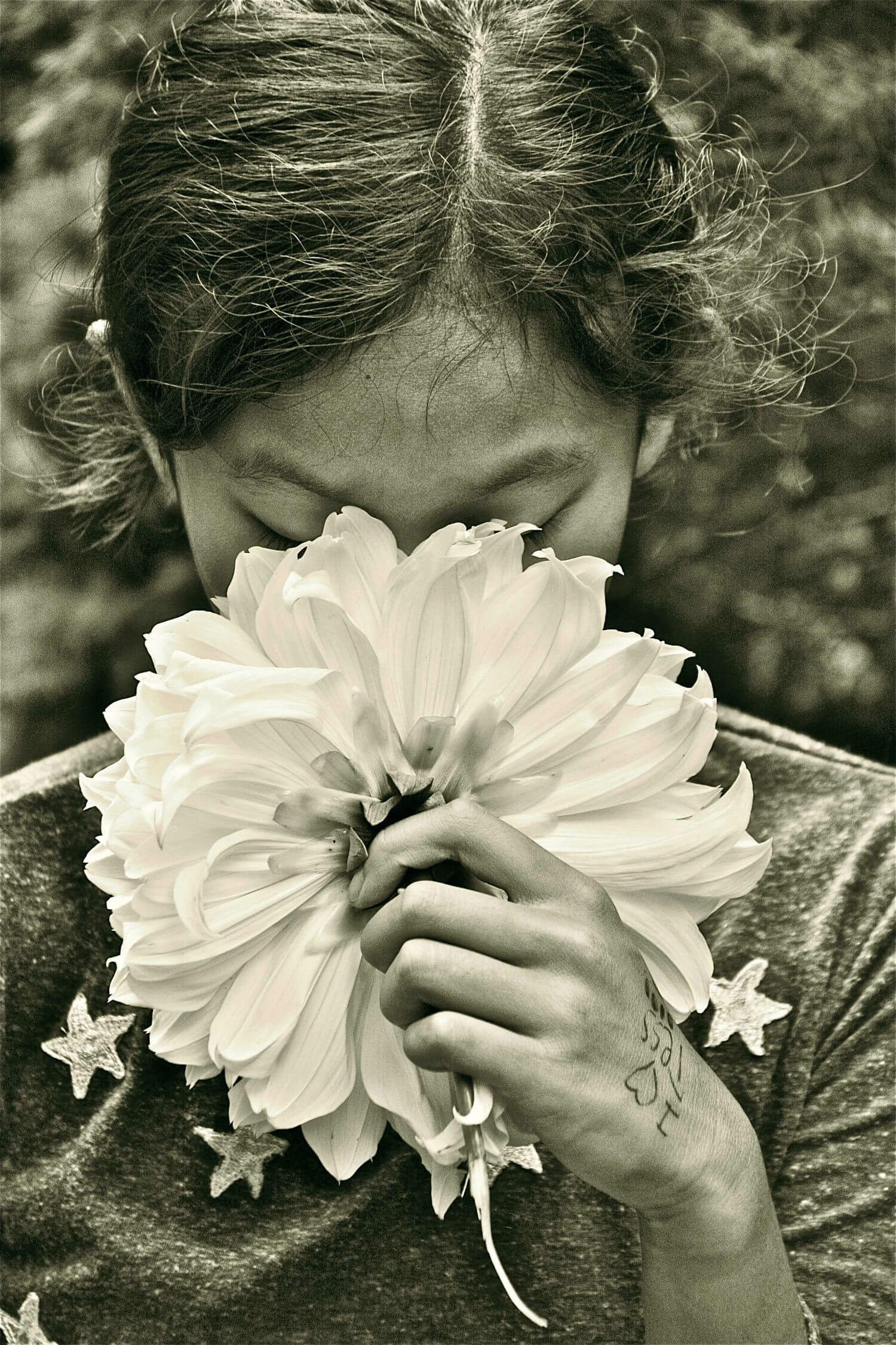"I love Tess, 11"" x 16"" girl smelling flower liz fiedorek fine art photography ny rhode island"