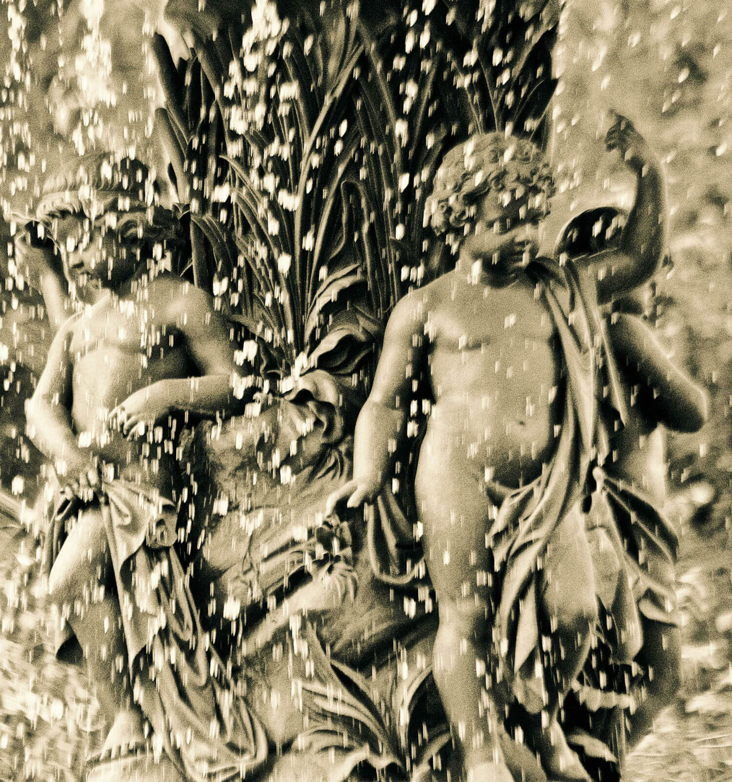 "Bethesda Fountain, 4.5"" x 4.5"" cherubs in fountain liz fiedorek fine art photography ny rhode island"