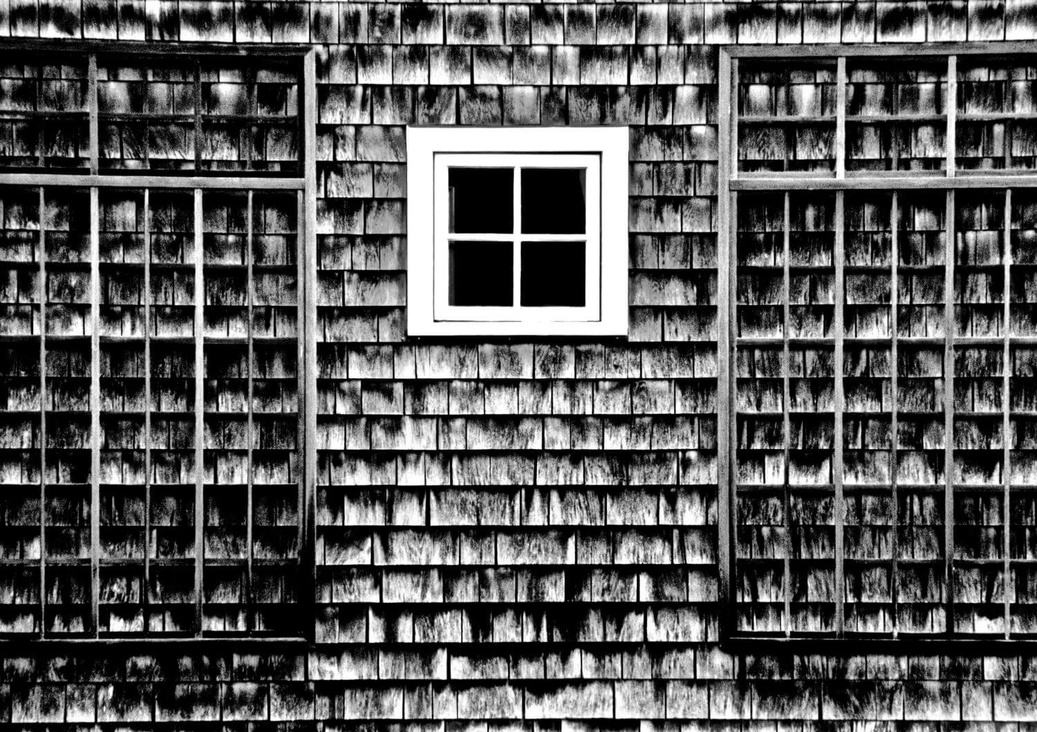 "B&W Study II, 13"" x 19"" side of shingled house with window liz fiedorek fine art photography ny rhode island"